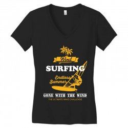wind surfing endless summer gone with the wind the ultimate wave chall Women's V-Neck T-Shirt | Artistshot