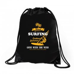 wind surfing endless summer gone with the wind the ultimate wave chall Drawstring Bags | Artistshot