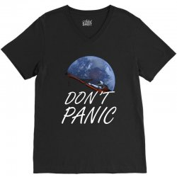 spacex don't panic in space V-Neck Tee   Artistshot