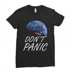 spacex don't panic in space Ladies Fitted T-Shirt   Artistshot