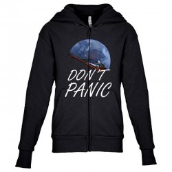 spacex don't panic in space Youth Zipper Hoodie   Artistshot