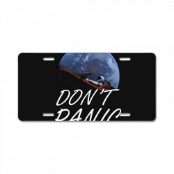 spacex don't panic in space License Plate   Artistshot