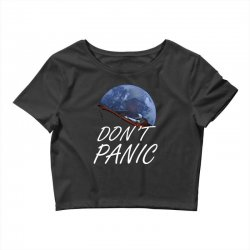 spacex don't panic in space Crop Top   Artistshot