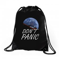 spacex don't panic in space Drawstring Bags   Artistshot