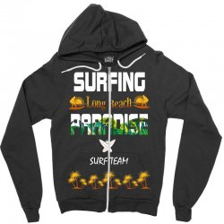 surfing log beach paradise surf team 1 Zipper Hoodie | Artistshot