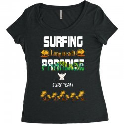 surfing log beach paradise surf team 1 Women's Triblend Scoop T-shirt | Artistshot