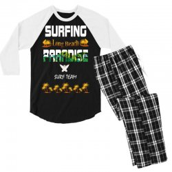 surfing log beach paradise surf team 1 Men's 3/4 Sleeve Pajama Set | Artistshot