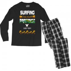 surfing log beach paradise surf team 1 Men's Long Sleeve Pajama Set | Artistshot