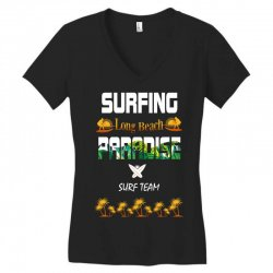 surfing log beach paradise surf team 1 Women's V-Neck T-Shirt | Artistshot