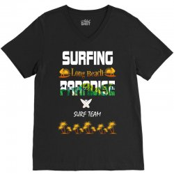 surfing log beach paradise surf team 1 V-Neck Tee | Artistshot