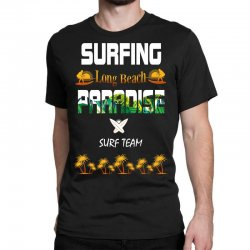 surfing log beach paradise surf team 1 Classic T-shirt | Artistshot