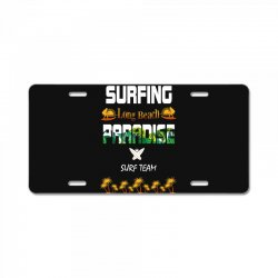 surfing log beach paradise surf team 1 License Plate | Artistshot