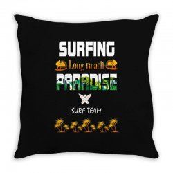 surfing log beach paradise surf team 1 Throw Pillow | Artistshot