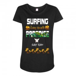 surfing log beach paradise surf team 1 Maternity Scoop Neck T-shirt | Artistshot