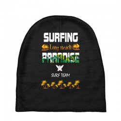 surfing log beach paradise surf team 1 Baby Beanies | Artistshot