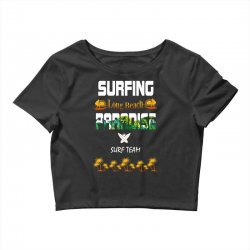 surfing log beach paradise surf team 1 Crop Top | Artistshot