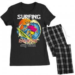 surfing log beach paradise surf team Women's Pajamas Set | Artistshot