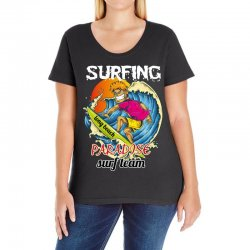 surfing log beach paradise surf team Ladies Curvy T-Shirt | Artistshot