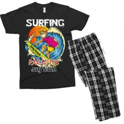surfing log beach paradise surf team Men's T-shirt Pajama Set | Artistshot