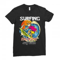 surfing log beach paradise surf team Ladies Fitted T-Shirt | Artistshot