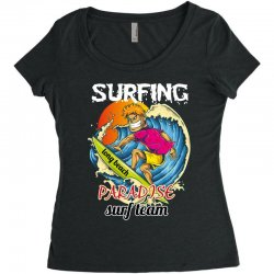 surfing log beach paradise surf team Women's Triblend Scoop T-shirt | Artistshot