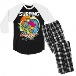 surfing log beach paradise surf team Men's 3/4 Sleeve Pajama Set | Artistshot