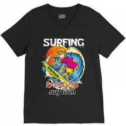 surfing log beach paradise surf team V-Neck Tee | Artistshot