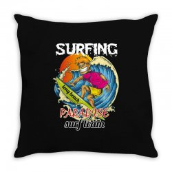 surfing log beach paradise surf team Throw Pillow | Artistshot