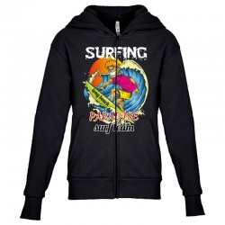 surfing log beach paradise surf team Youth Zipper Hoodie | Artistshot