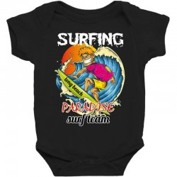 surfing log beach paradise surf team Baby Bodysuit | Artistshot