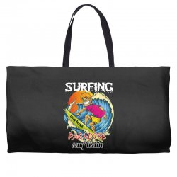surfing log beach paradise surf team Weekender Totes | Artistshot