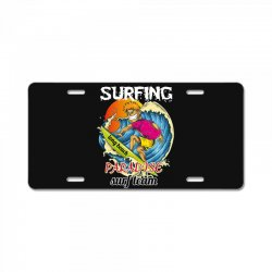 surfing log beach paradise surf team License Plate | Artistshot