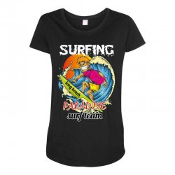 surfing log beach paradise surf team Maternity Scoop Neck T-shirt | Artistshot