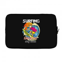 surfing log beach paradise surf team Laptop sleeve | Artistshot