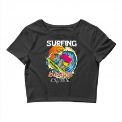 surfing log beach paradise surf team Crop Top | Artistshot
