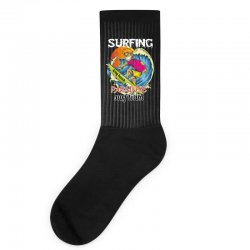 surfing log beach paradise surf team Socks | Artistshot