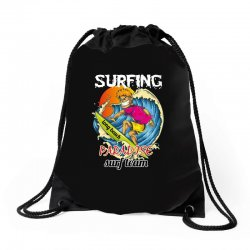 surfing log beach paradise surf team Drawstring Bags | Artistshot