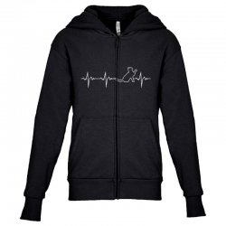 cat heartbeat Youth Zipper Hoodie | Artistshot