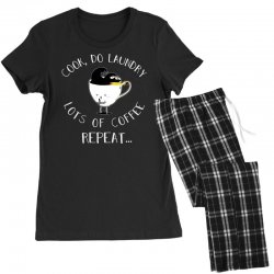 cook do laundry lots of coffee repeat Women's Pajamas Set | Artistshot