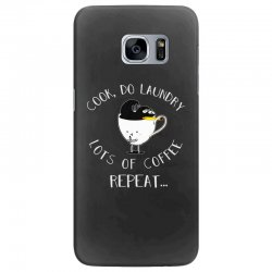 cook do laundry lots of coffee repeat Samsung Galaxy S7 Edge Case | Artistshot
