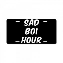 sad boi hour text only License Plate | Artistshot