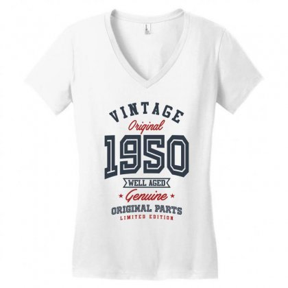 Gift For Born In 1950 Women's V-neck T-shirt Designed By Chris Ceconello