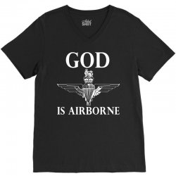 royal marines god is airborne V-Neck Tee | Artistshot