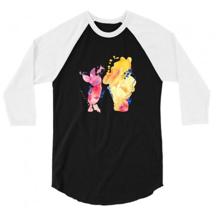 Watercolor Piglet And Winnie Pooh 3/4 Sleeve Shirt Designed By Sengul