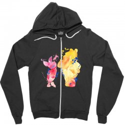 watercolor piglet and winnie pooh Zipper Hoodie | Artistshot