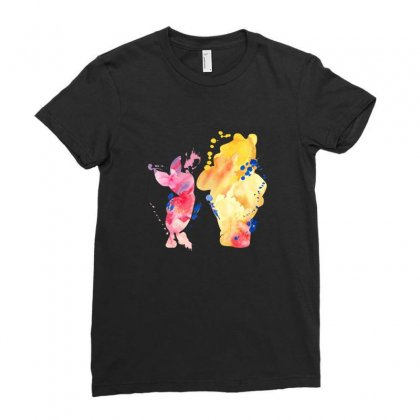 Watercolor Piglet And Winnie Pooh Ladies Fitted T-shirt Designed By Sengul