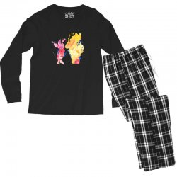 watercolor piglet and winnie pooh Men's Long Sleeve Pajama Set | Artistshot