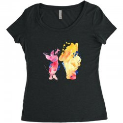 watercolor piglet and winnie pooh Women's Triblend Scoop T-shirt | Artistshot