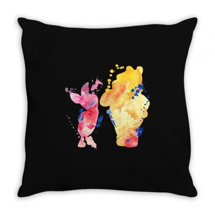 Watercolor Piglet And Winnie Pooh Throw Pillow Designed By Sengul