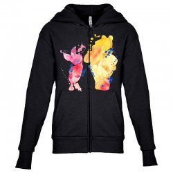 watercolor piglet and winnie pooh Youth Zipper Hoodie | Artistshot